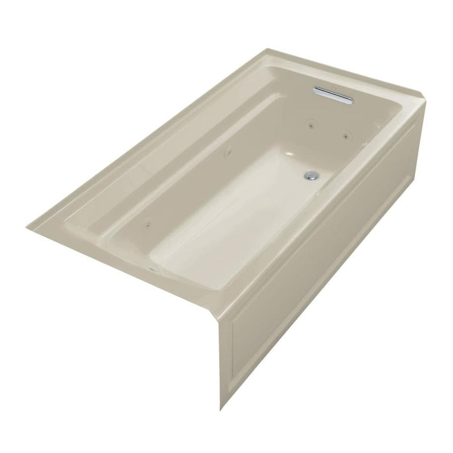 KOHLER Archer 72-in Sandbar Acrylic Alcove Whirlpool Tub with Right-Hand Drain