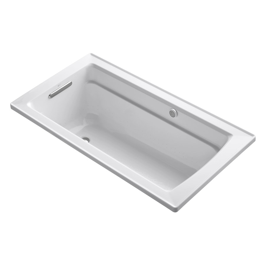 KOHLER Archer 60-in White Acrylic Drop-In Air Bath with Reversible Drain