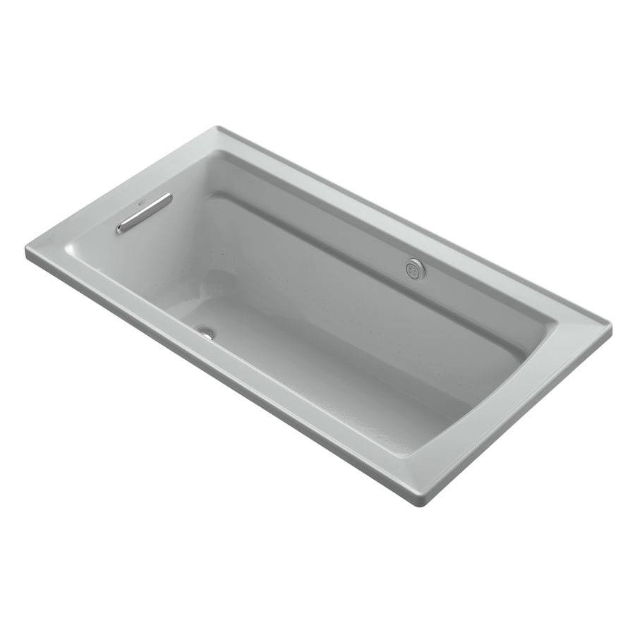 KOHLER Archer 60-in Ice Grey Acrylic Drop-In Air Bath with Reversible Drain
