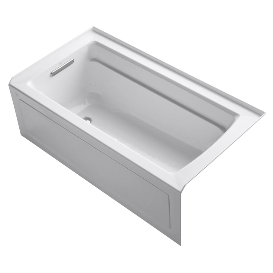 KOHLER Archer 60-in White Acrylic Alcove Air Bath with Left-Hand Drain