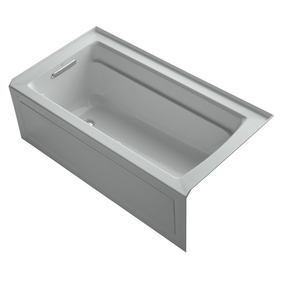 KOHLER Archer 60-in Ice Grey Acrylic Alcove Air Bath with Left-Hand Drain