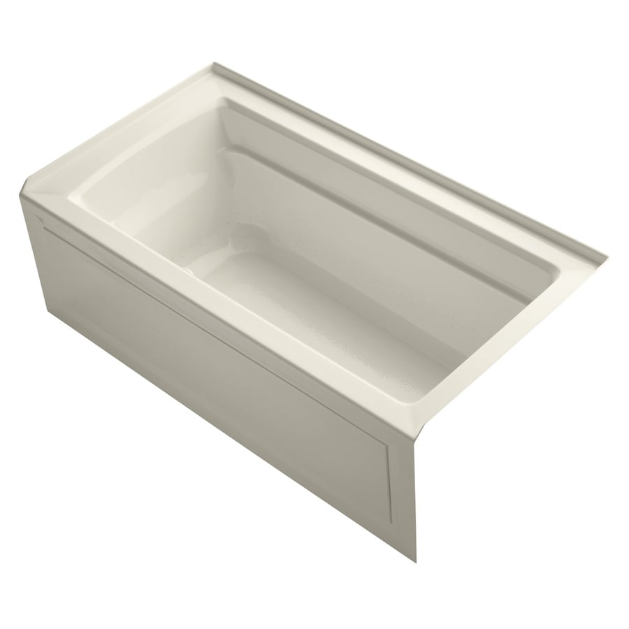 KOHLER Archer 60-in Almond Acrylic Alcove Air Bath with Right-Hand Drain