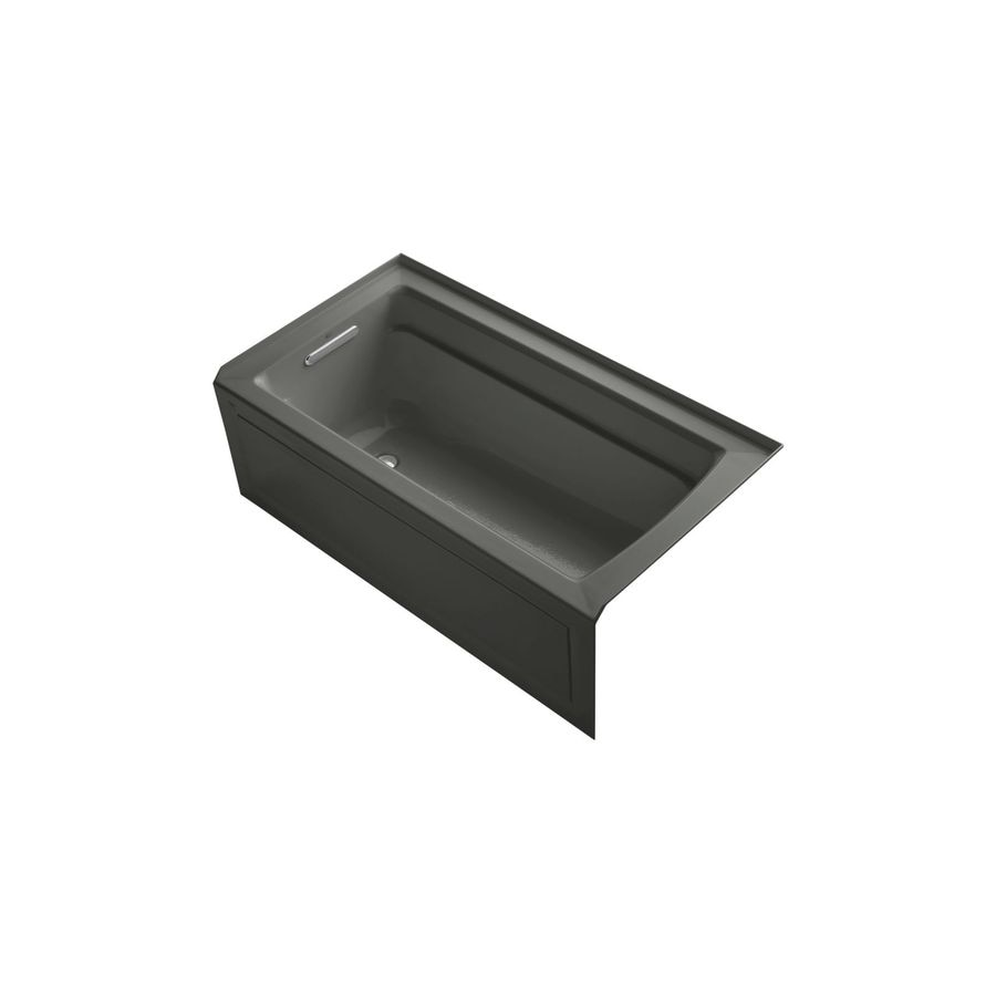 KOHLER Archer 60-in Thunder Grey Acrylic Drop-In Air Bath with Right-Hand Drain