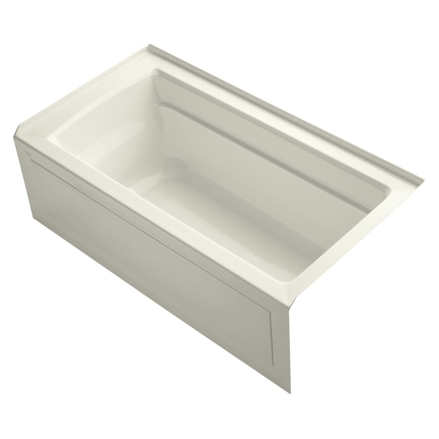 KOHLER Archer 60-in Biscuit Acrylic Alcove Air Bath with Right-Hand Drain