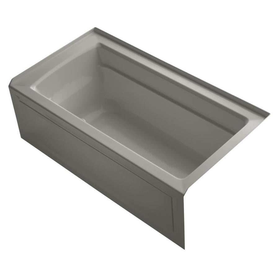 KOHLER Archer 60-in Cashmere Acrylic Alcove Air Bath with Right-Hand Drain