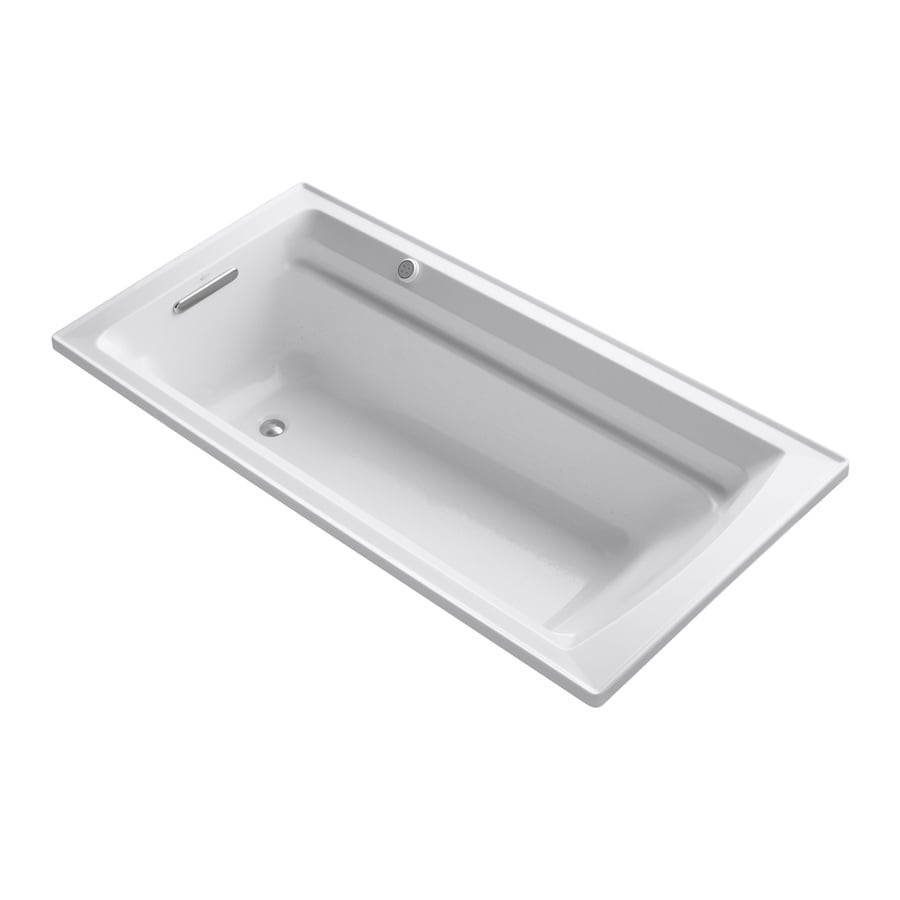 KOHLER Archer 72-in White Acrylic Drop-In Air Bath with Reversible Drain