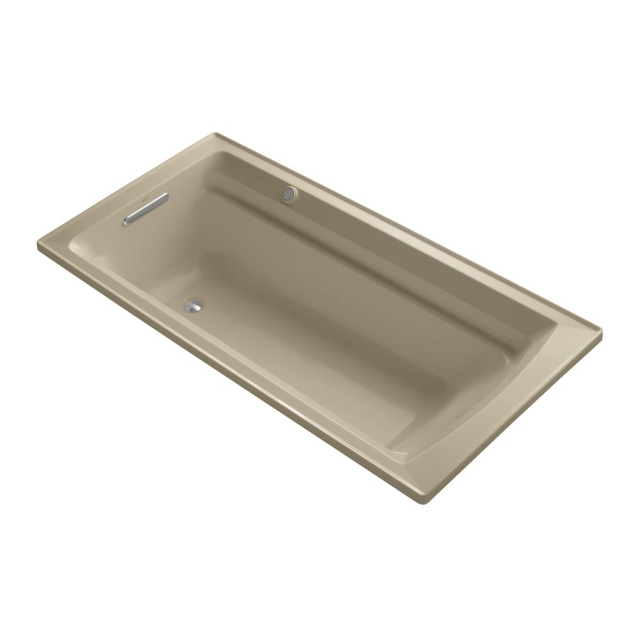 KOHLER Archer 72-in Mexican Sand Acrylic Drop-In Air Bath with Reversible Drain