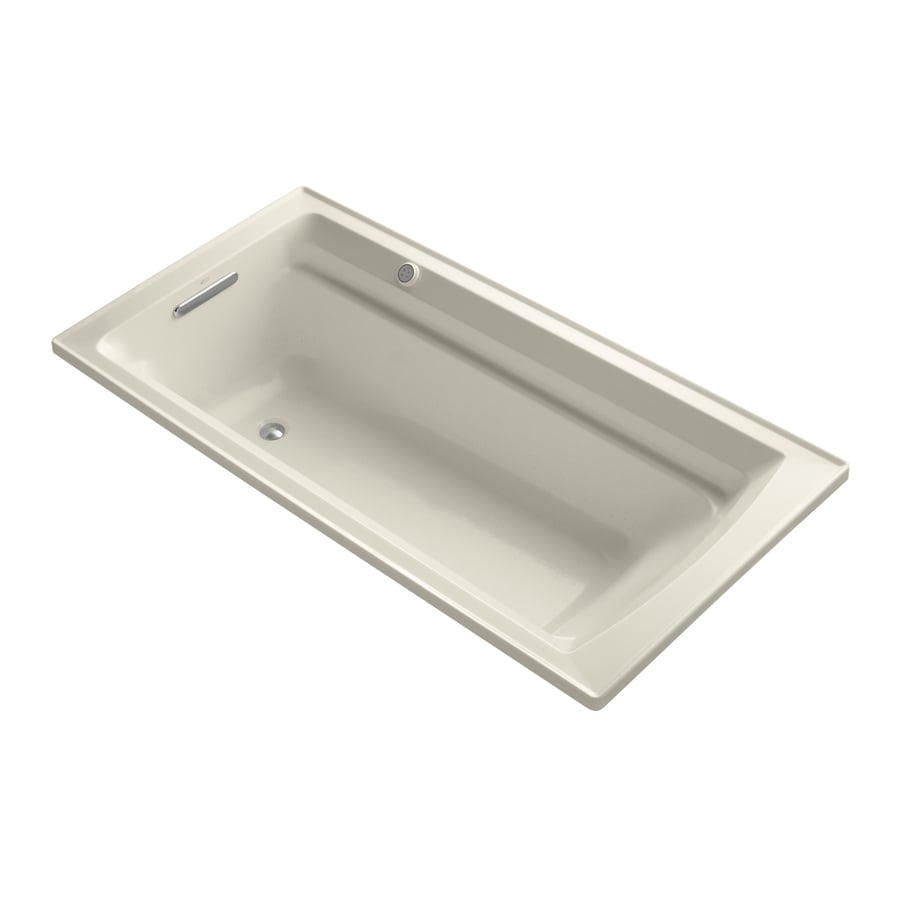 KOHLER Archer 72-in Almond Acrylic Drop-In Air Bath with Reversible Drain