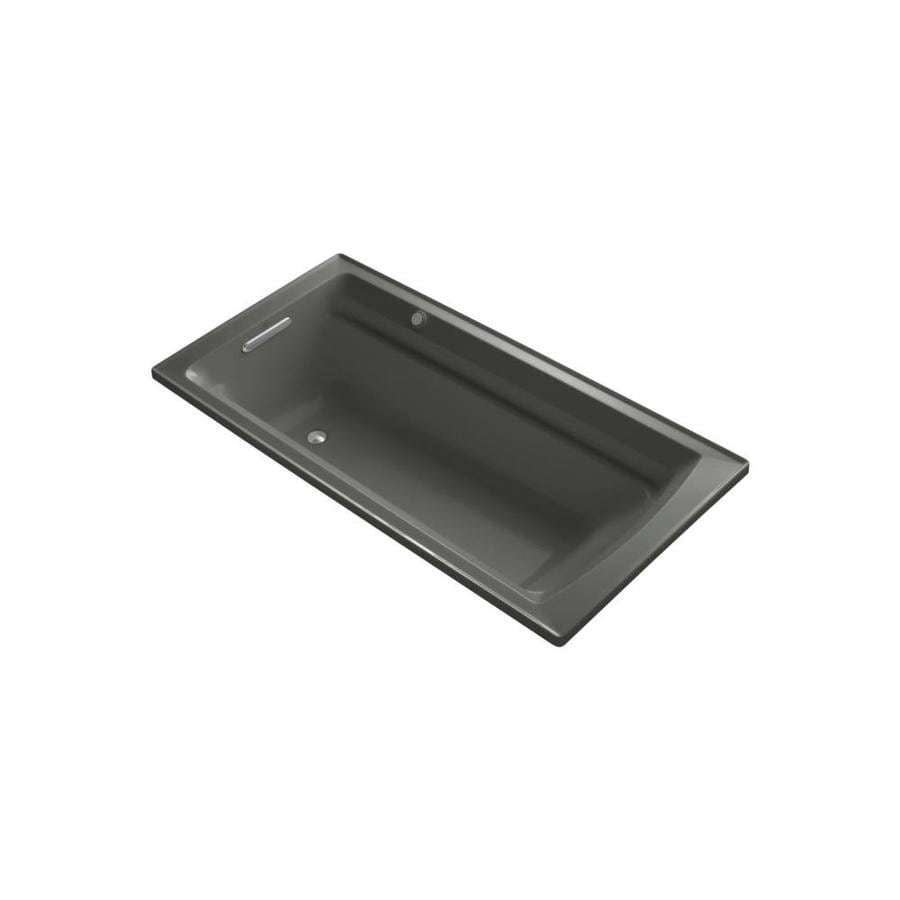 KOHLER Archer 72-in Thunder Grey Acrylic Drop-In Air Bath with Reversible Drain