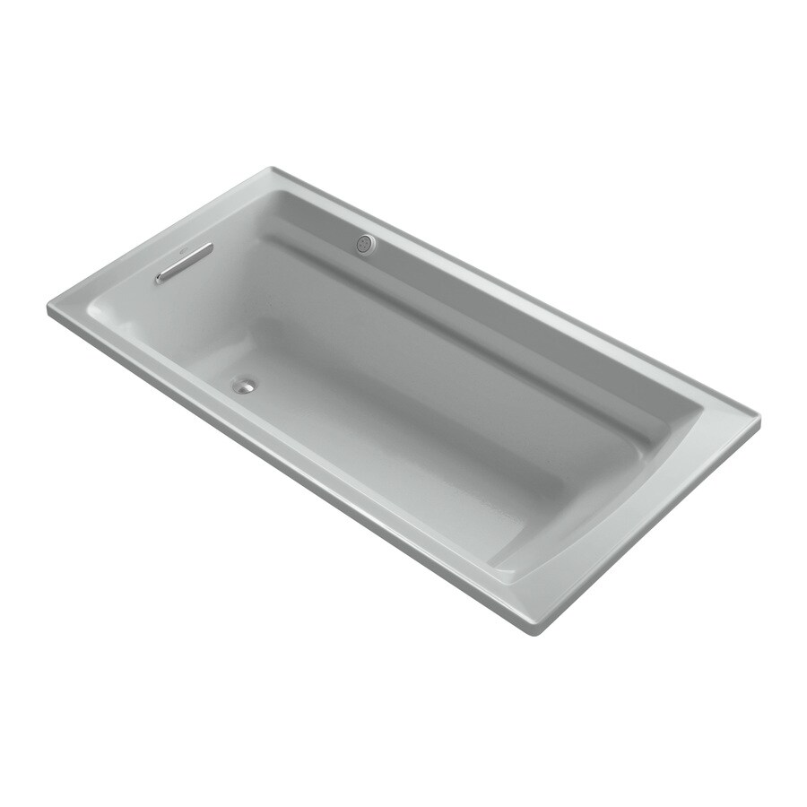 KOHLER Archer 72-in Ice Grey Acrylic Drop-In Air Bath with Reversible Drain
