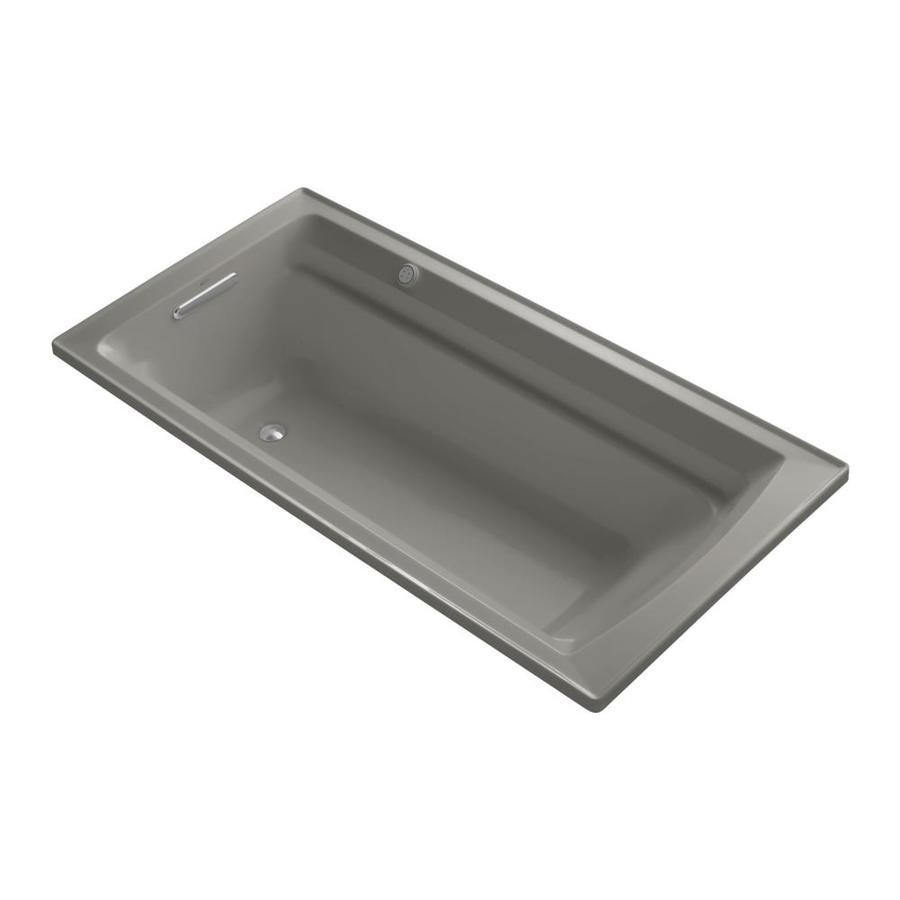 KOHLER Archer 72-in Cashmere Acrylic Drop-In Air Bath with Reversible Drain