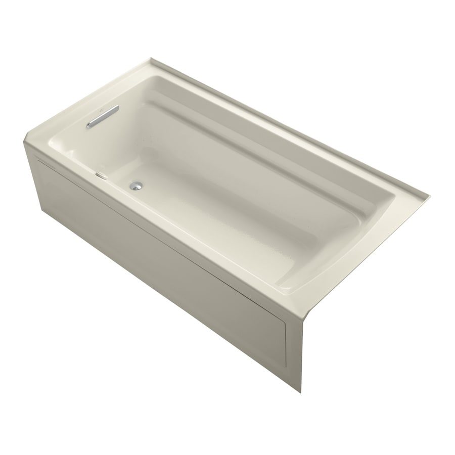 KOHLER Archer 72-in Almond Acrylic Alcove Air Bath with Left-Hand Drain