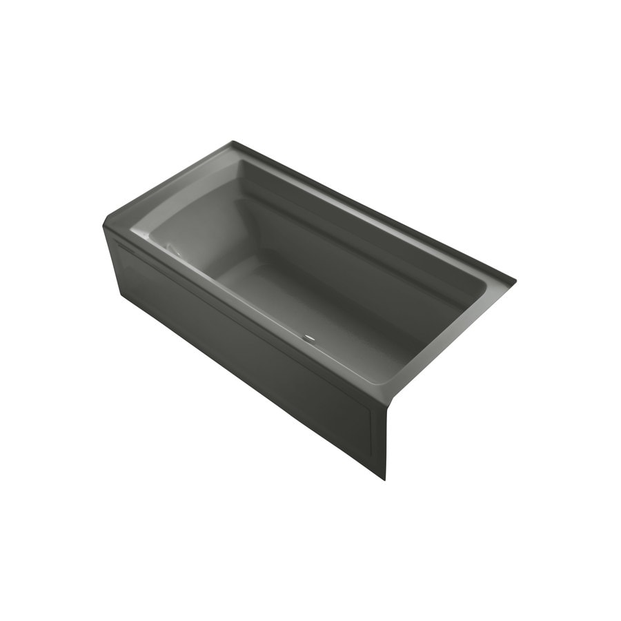 KOHLER Archer 72-in Thunder Grey Acrylic Alcove Air Bath with Right-Hand Drain