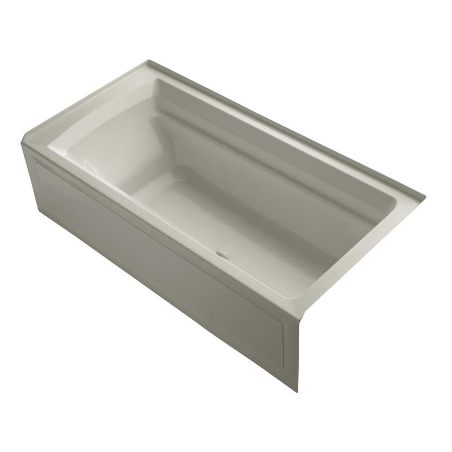 KOHLER Archer 72-in Sandbar Acrylic Alcove Air Bath with Right-Hand Drain