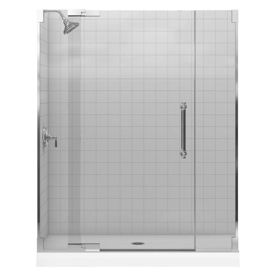 KOHLER Pinstripe 57.25-in to 59.75-in Frameless Pivot Shower Door
