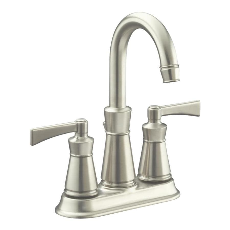shop kohler archer vibrant brushed nickel 2 handle 4 in centerset watersense bathroom faucet. Black Bedroom Furniture Sets. Home Design Ideas