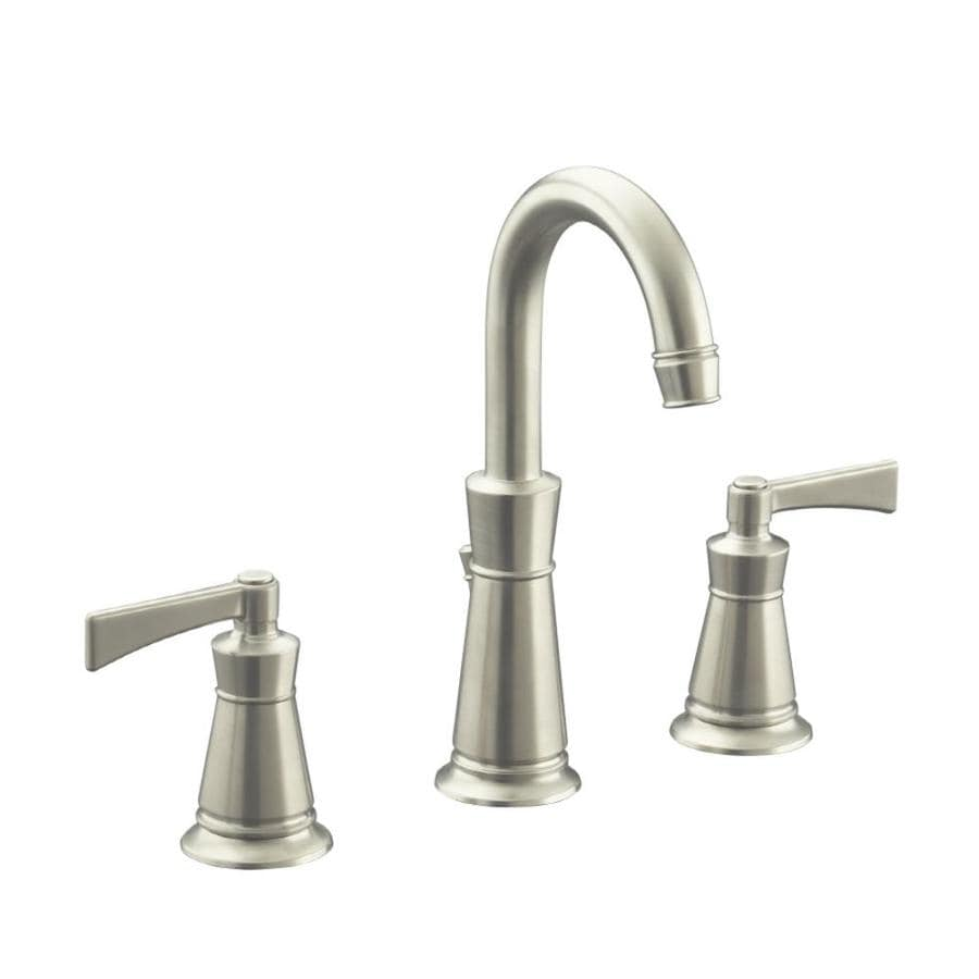 KOHLER Archer Vibrant Brushed Nickel 2-Handle Widespread WaterSense Bathroom Faucet (Drain Included)