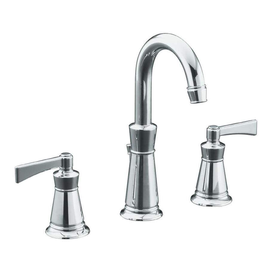 KOHLER Archer Polished Chrome 2-Handle Widespread WaterSense Bathroom Faucet (Drain Included)