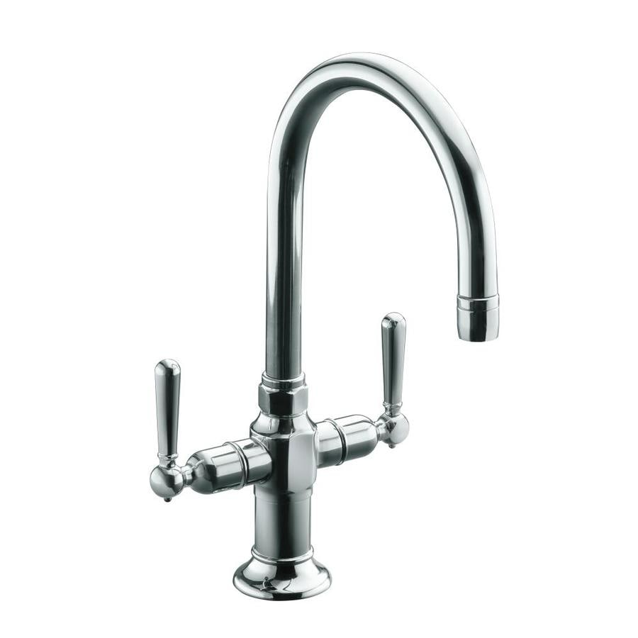 Kohler Hirise Polished Stainless 2 Handle Deck Mount High Arc Kitchen Faucet
