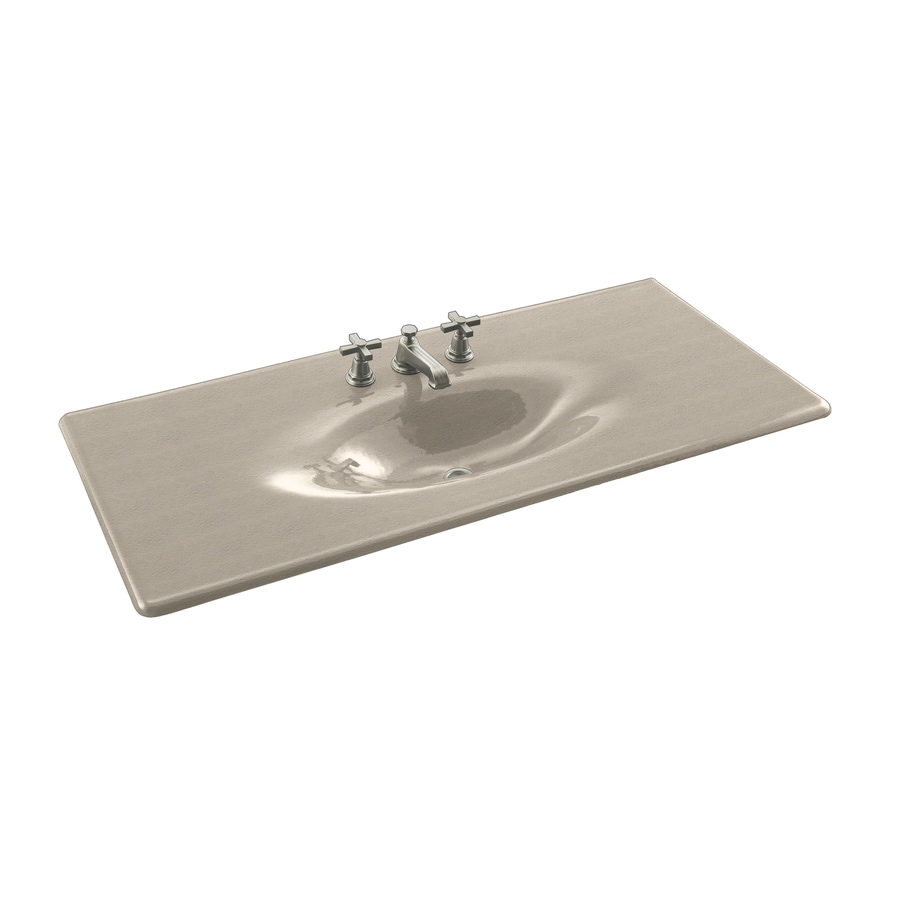 KOHLER Iron/Impressions Sea Salt Cast Iron Drop-in Oval Bathroom Sink