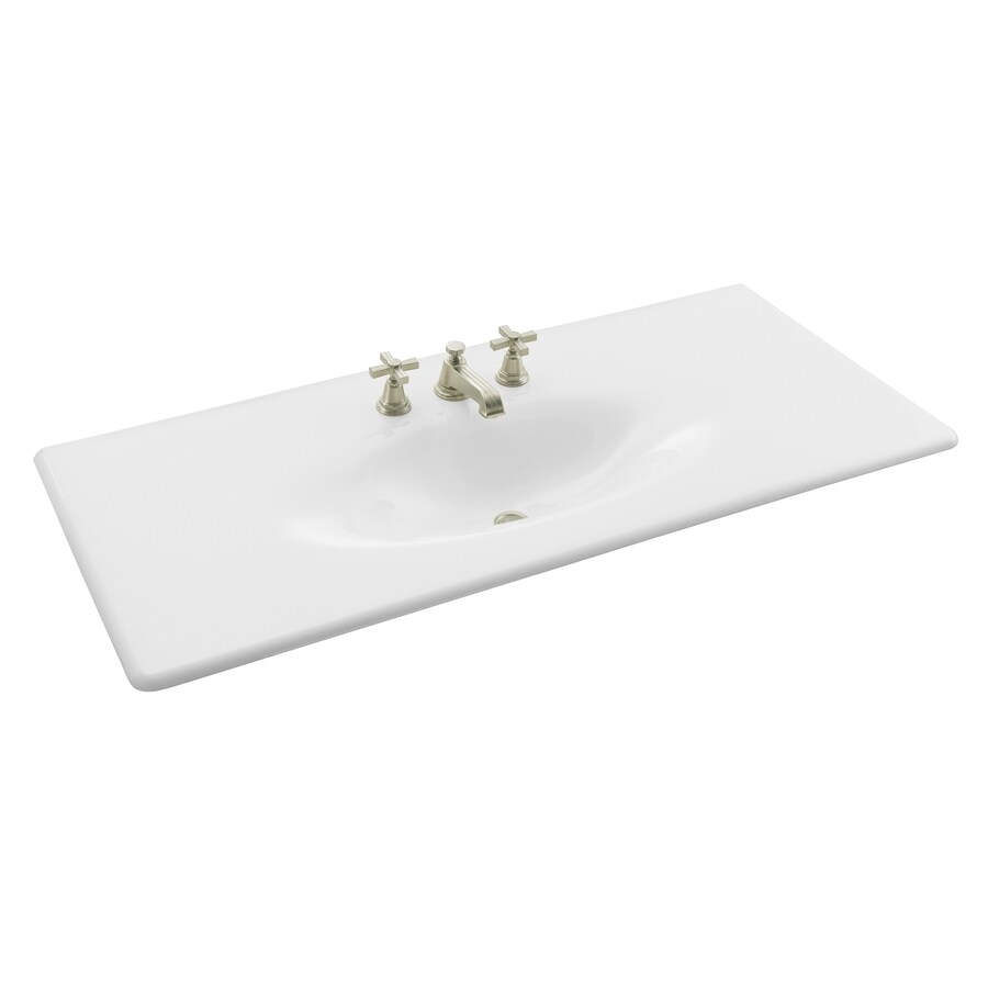 KOHLER Impressions White Cast Iron Drop-in Oval Bathroom Sink