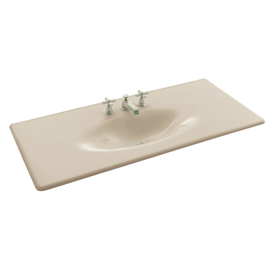 KOHLER Iron/Impressions Almond Cast Iron Drop-in Oval Bathroom Sink