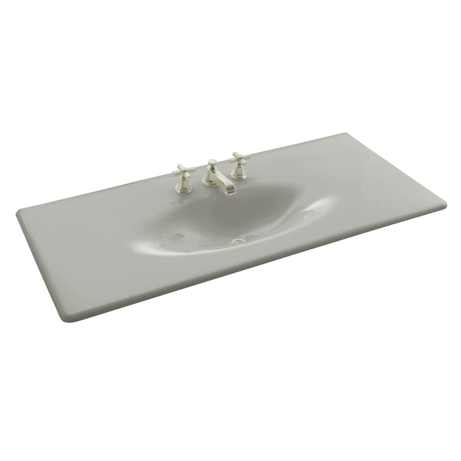 Shop kohler impressions ice grey cast iron drop in oval bathroom sink at - Cast iron sink weight ...