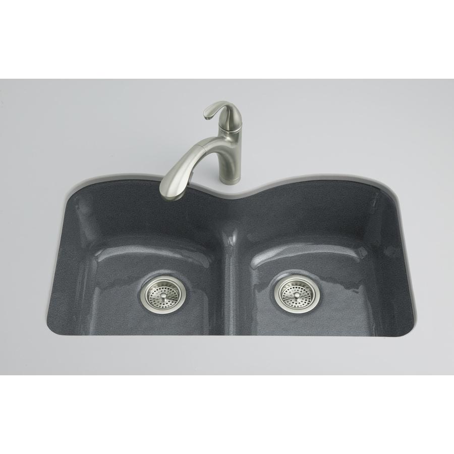 Kohler Undermount Kitchen Sinks Lowes: KOHLER Langlade Double-Basin Undermount Enameled Cast Iron