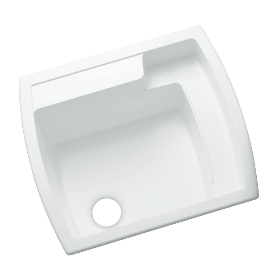 KOHLER 22-in x 25-in 1-Basin White Self-Rimming Composite Tub Utility Sink