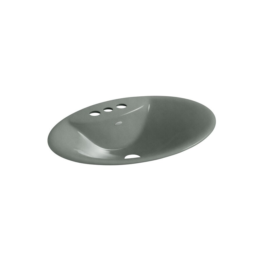 Shop kohler maratea basalt cast iron drop in oval bathroom sink at Kohler cast iron bathroom sink