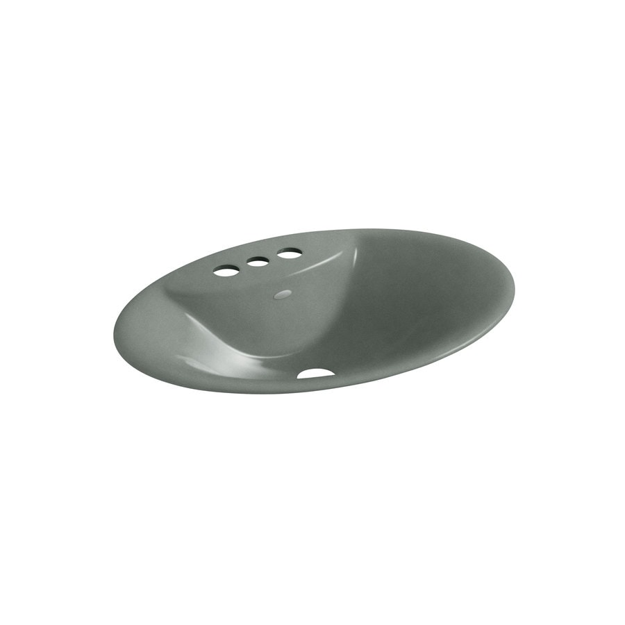 Shop Kohler Maratea Basalt Cast Iron Drop In Oval Bathroom Sink At