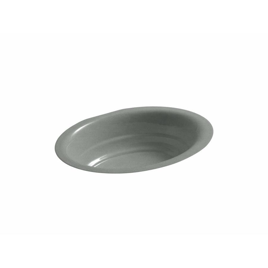 Shop Kohler Garamond Basalt Cast Iron Undermount Oval Bathroom Sink At