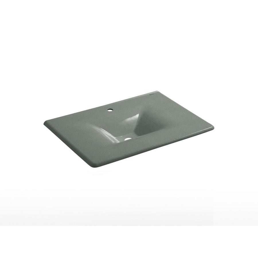 KOHLER Iron/Impressions Basalt Cast Iron Drop-in Rectangular Bathroom Sink