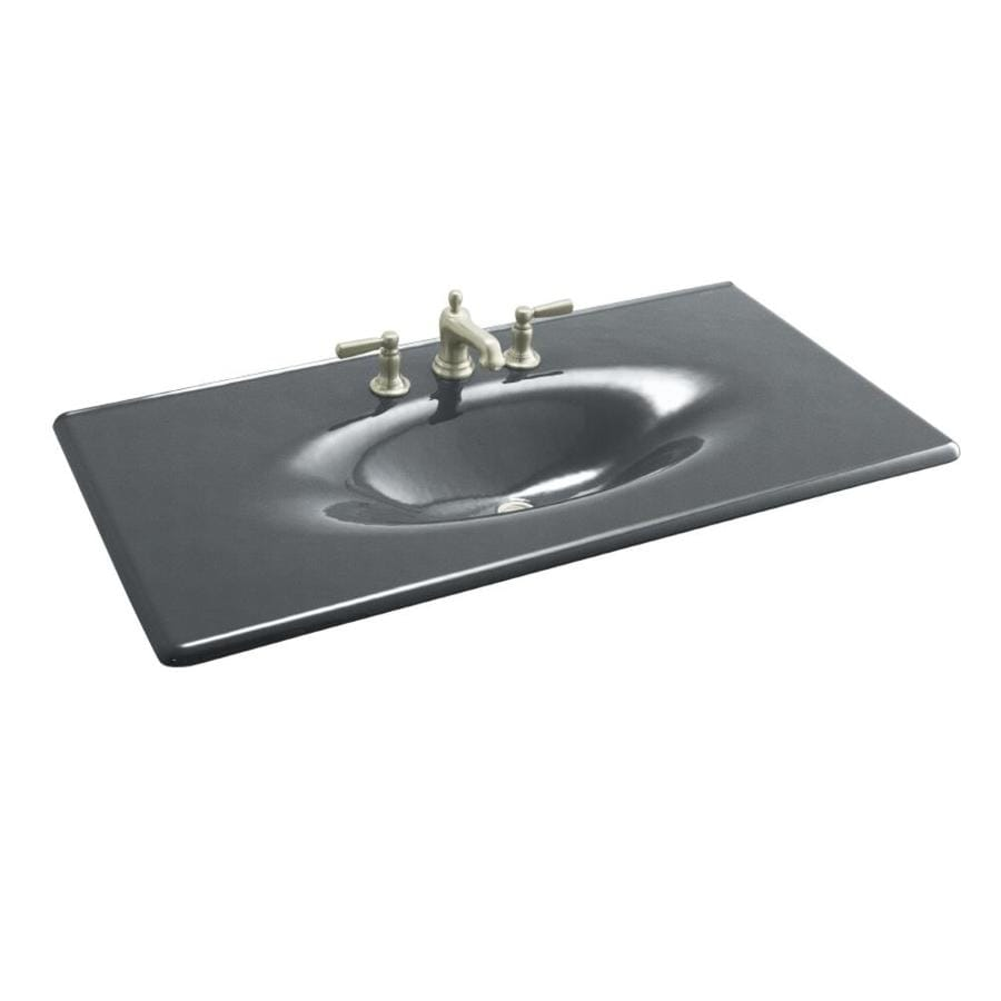 KOHLER Iron/Impressions Basalt Cast Iron Integral Bathroom Vanity Top (Common: 44-in x 23-in; Actual: 43.6250-in x 22.2500-in)
