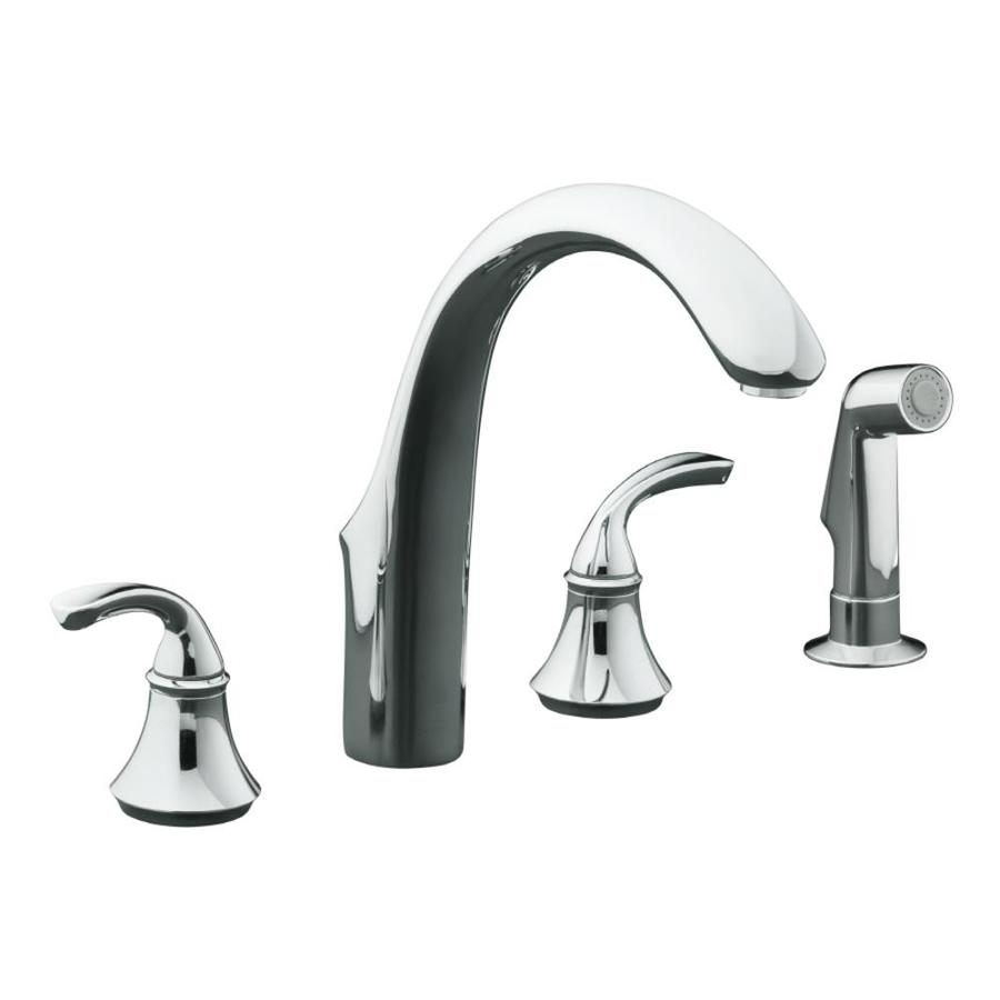 KOHLER Forte Polished Chrome 2-Handle Deck Mount High-arc Kitchen Faucet