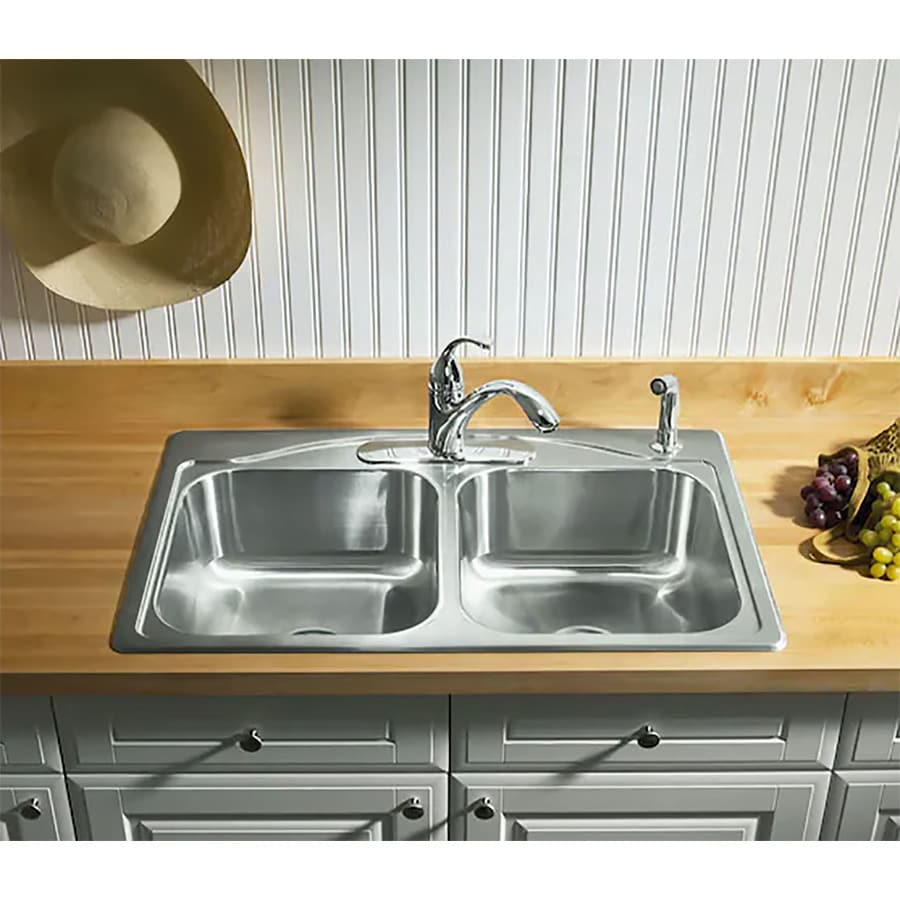 KOHLER Cadence 22-in x 33-in Double-Basin Stainless Steel Drop-in 4-Hole Commercial/Residential Kitchen Sink