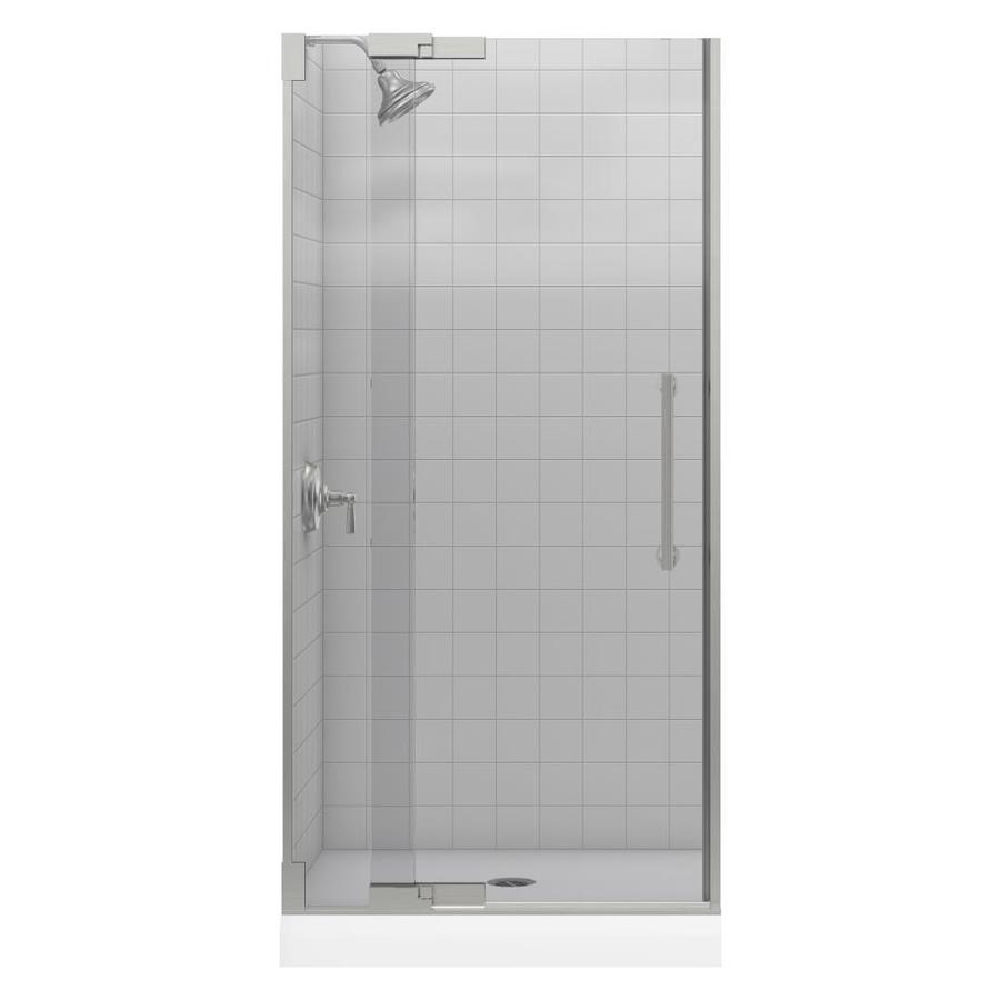 KOHLER Purist 33.25-in to 35.75-in Brushed Nickel Pivot Shower Door