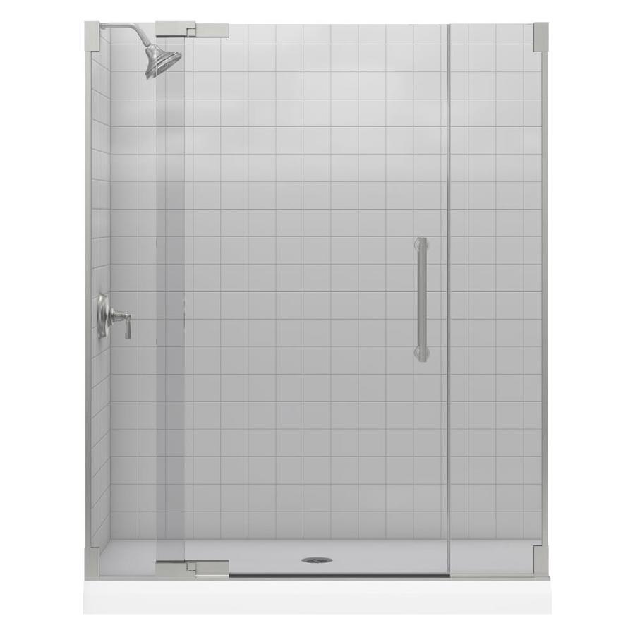 KOHLER Purist 57.25-in to 59.75-in Frameless Pivot Shower Door