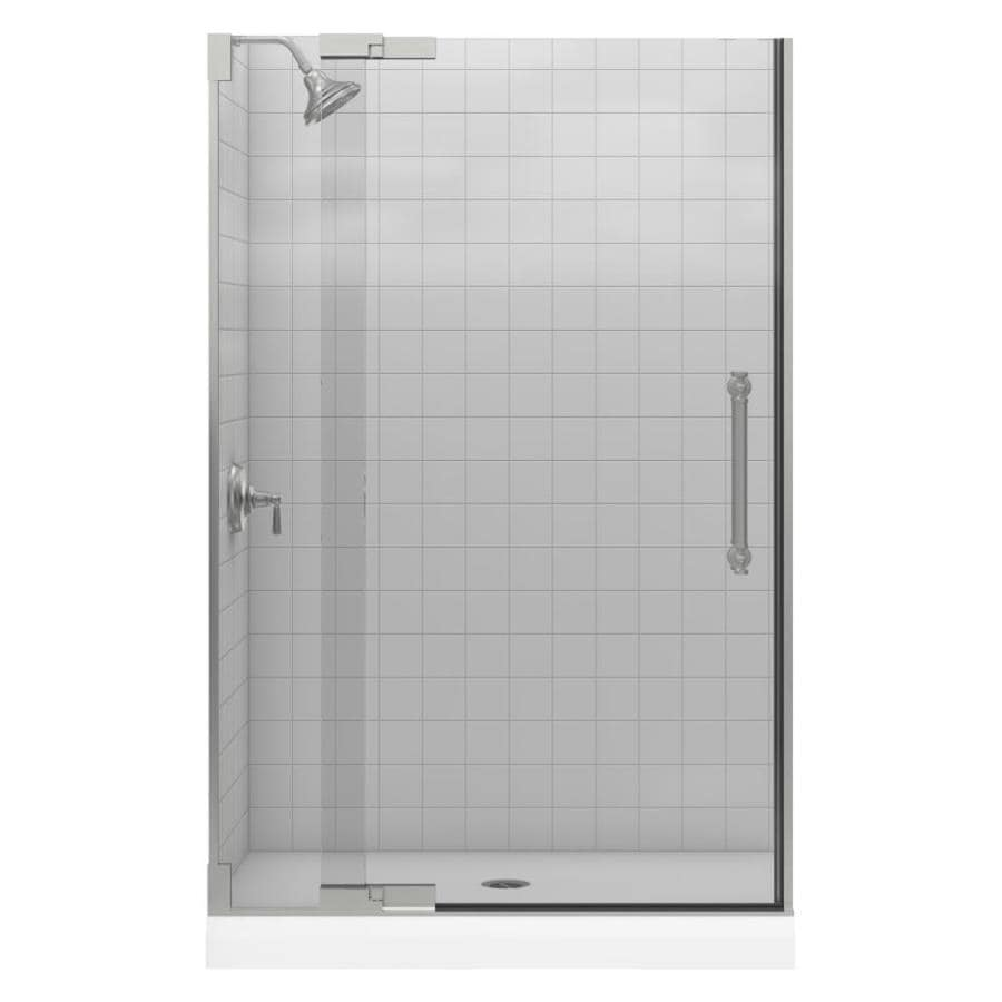 KOHLER Pinstripe 45.25-in to 47.75-in Frameless Pivot Shower Door