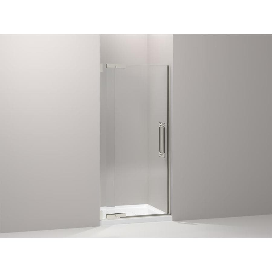KOHLER Pinstripe 33.25-in to 35.75-in Frameless Pivot Shower Door