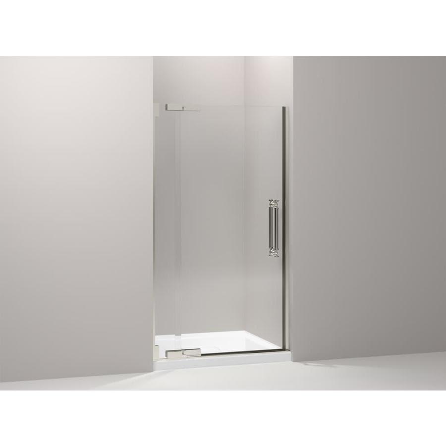 KOHLER Pinstripe 39.25-in to 41.75-in Frameless Pivot Shower Door