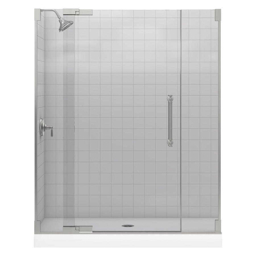 KOHLER Pinstripe 57.25-in to 59.75-in Frameless Pivot Shower Door