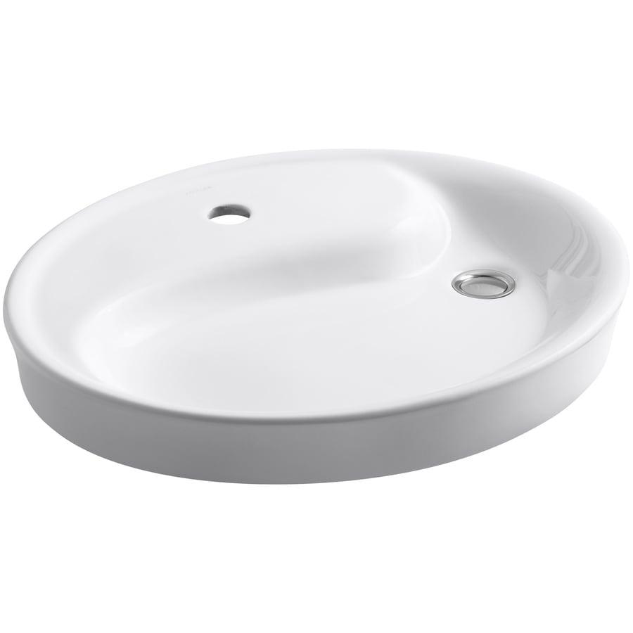 KOHLER Yin Yang White Drop-in Oval Bathroom Sink with Overflow