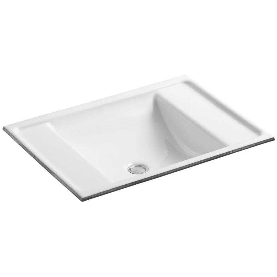 Shop Kohler Ledges White Cast Iron Undermount Rectangular Bathroom Sink With Overflow At