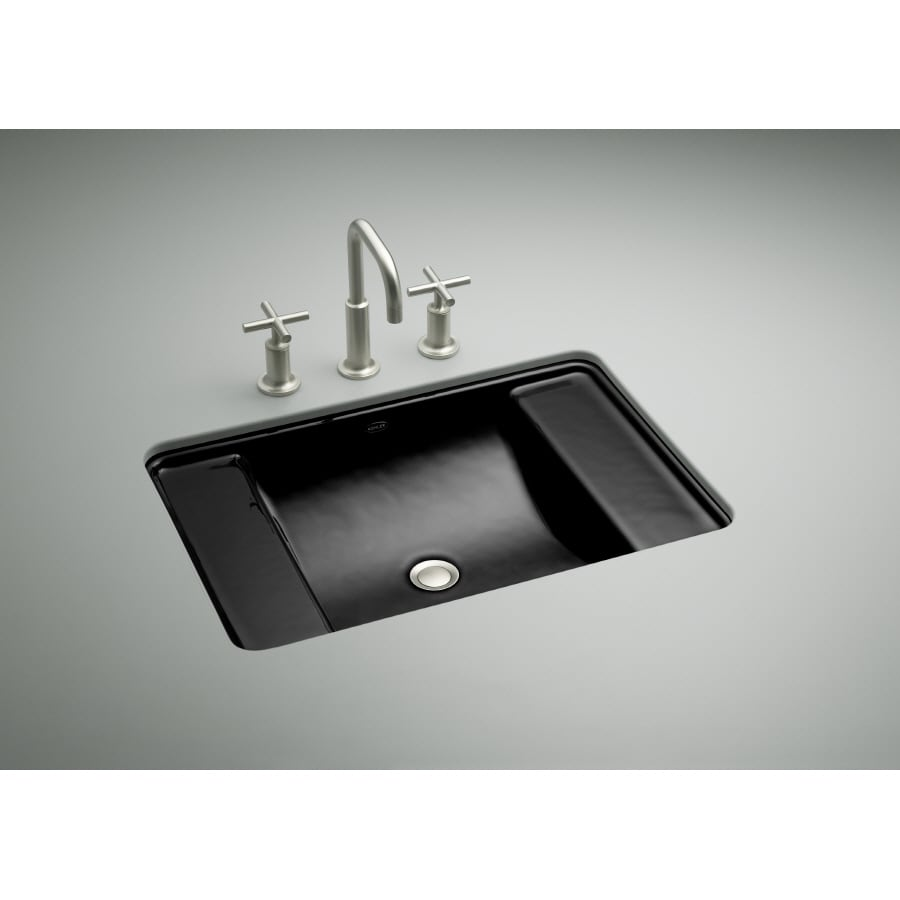 Shop Kohler Ledges Black Black Cast Iron Undermount Rectangular Bathroom Sink With Overflow At