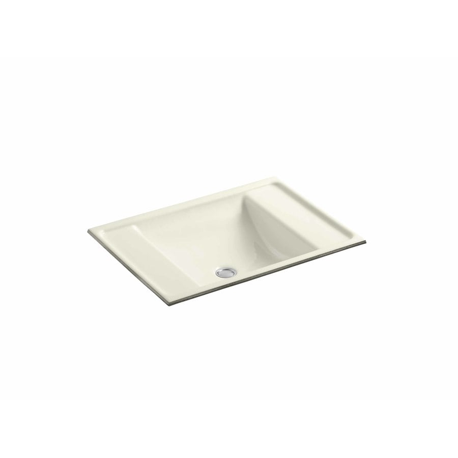 KOHLER Ledges Biscuit Cast Iron Undermount Rectangular Bathroom Sink with Overflow