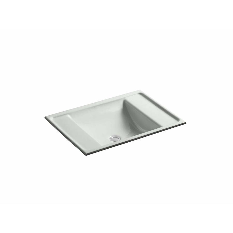 KOHLER Ledges Sea Salt Cast Iron Undermount Rectangular Bathroom Sink with Overflow