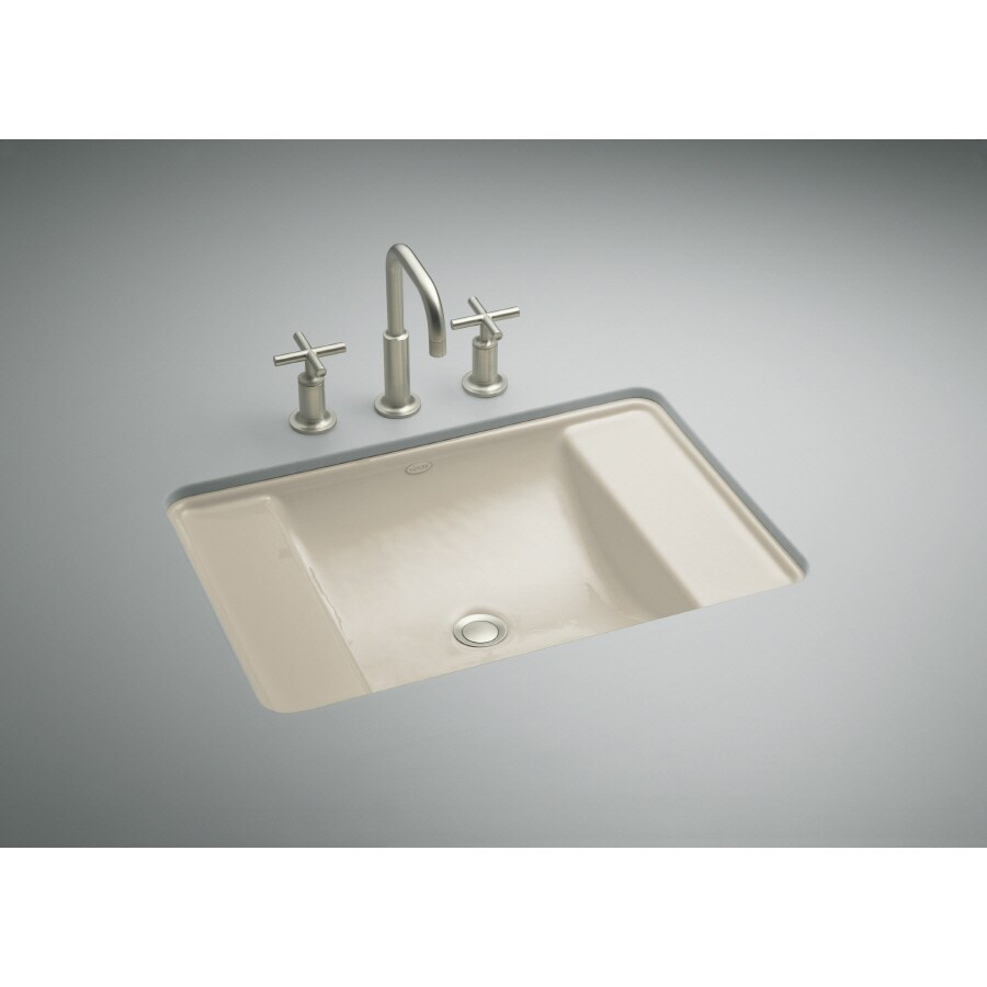 KOHLER Ledges Sandbar Cast Iron Undermount Rectangular Bathroom Sink with Overflow