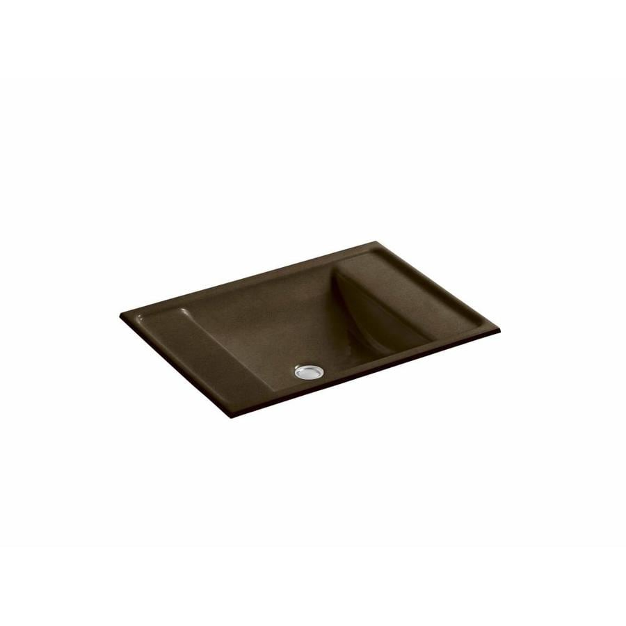 Shop Kohler Ledges Black 39 N Tan Cast Iron Undermount Rectangular Bathroom Sink With Overflow At