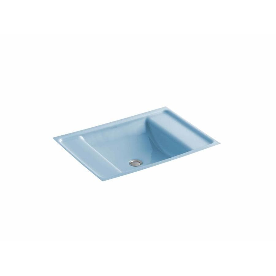 Shop Kohler Ledges Vapour Blue Cast Iron Undermount Rectangular Bathroom Sink With Overflow At